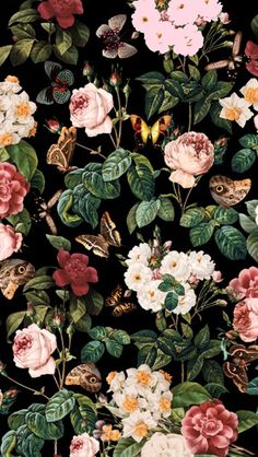 Floral-and-butterflies1 #freeiphonewallpaper