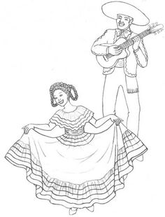 Cinco de Mayo dancing coloring page