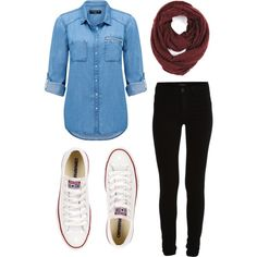 School by tiah-mahone on Polyvore featuring Forever New, VILA, Converse and  Paula
