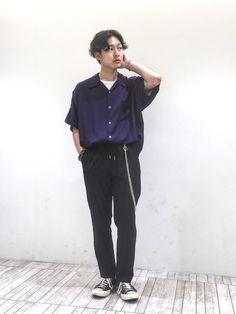 新作レーヨンドロップシャツ 紫みたいなネイビー