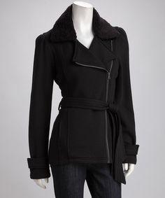 Sebby Black Belted Asymmetrical Coat - Women