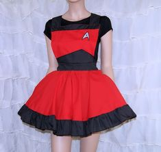 Red StarFleet Command Insignia Pinafore Apron Costume by mtcoffinz, $85.00