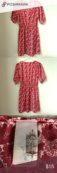 Red and White Floral Dress Light weight red and white floral dress size Medium. Bought in a boutique, have no clue what the brand is, because the label is just a picture 😊 Anthropologie Dresses