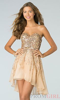 I guess i just love every dress by Sherri Hill. Short Strapless Sequin Dress by Sherri Hill 8443 at PromGirl.com
