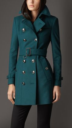 Burberry Mid Length Slim Fit Wool Cashmere Trench Coat in Green (dark teal)