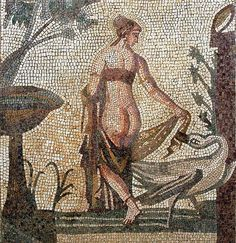 Leada and the Swan, mosaic depicting from the Sanctuary of Aphrodite, Palea Paphos; circa 3rd c AD, Roman period, at the Cyprus Museum, Nicosia