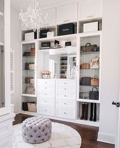 master closet with crystal chandelier Happy Friday, everyone! I'm so excited to FINALLY share my completed master closet renovation with California Closets today! Walk In Closet Design, Closet Designs, Master Closet Design, Sala Glam, Closet Renovation, Closet Vanity, Closet Mirror, California Closets, Master Bedroom Closet
