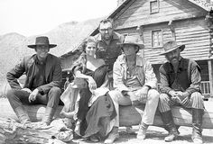 Henry Fonda, Claudia Cardinale, Charles Bronson, Jason Robards and Sergio Leone on the set of Once Upon a Time in the West, 1968.