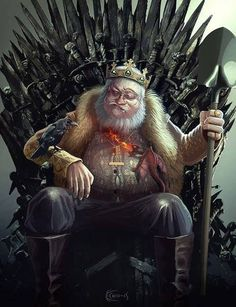 The True King of Westeros: George R.R. Martin! He's got a dragon singing his beard, but is grumpy cuz c'mon, the Iron Throne has to be the most uncomfortable chair in the world.