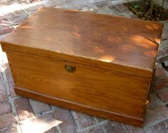 Vintage Trunk - Wood - Cedar Lined Chest - Coffee Table - Furniture - Rustic…