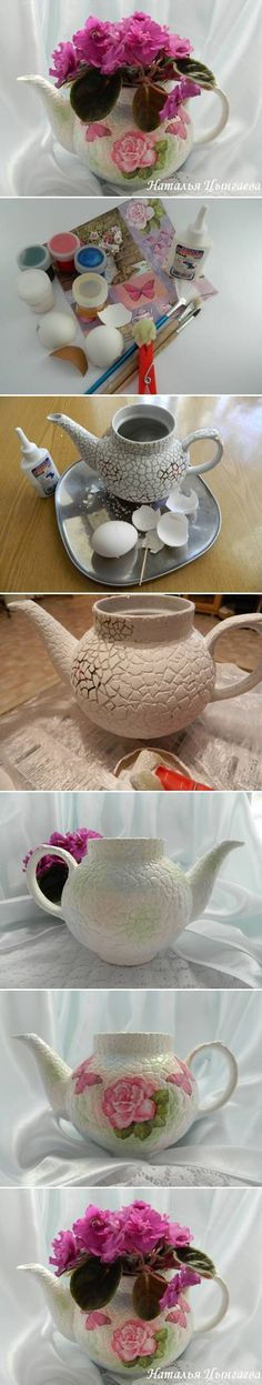DIY Old Kettle Plant Pot with Eggshells