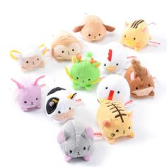 The **Chinese Zodiac** never looked so cute! This collection of 12 **mini plushies** features each member of the zodiac including the **mouse**, **ox**, **tiger**, **rabbit**, **dragon**, **snake**, **horse**, **sheep**, **monkey**, **rooster**, **dog**, and **wild boar** in adorable **chibi** style. Pick your birth year, just get yourself your favorite, or get the complete set for the full eff... #plushie