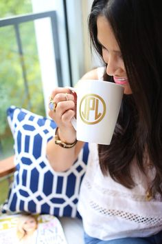 gold monogrammed coffee mug.