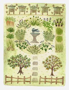 Bee Garden, watercolor