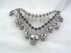 Amazon.com: SKULL & TAPERS Double Jeweled Necklace Gothic Fashion Jewelry Halloween + Fun: Home & Kitchen