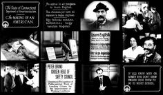 Titles and stills from film.