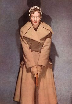 Love the leopard print topper paired with a warm, classic camel coat. #vintage #1940s #coat #hat #fashion