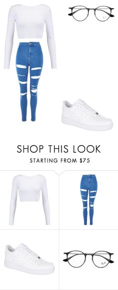 """casual"" by ikatsamaki on Polyvore featuring Cushnie Et Ochs, Topshop, NIKE and Ray-Ban"