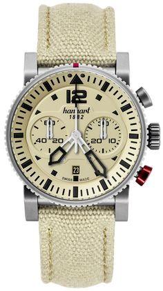 Die schweizerisch-deutsche Uhrenmarke Hanhart hat die seit 2009 lancierte Chrongraphenserie Primus um einen Stopper im sommerlichen Outdoor-Look erweitert. Die Primus Desert Pilot besitzt ein sandfarbenes Zifferblatt mit passendem Textilband.