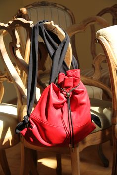 Red, leather rucksack- Ewa Wajnert