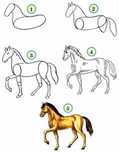 Horse Pencil Drawing, Horse Drawings, Art Drawings Sketches, Animal Drawings, Drawing Animals, Art Drawings For Kids, Drawing For Kids, Easy Drawings, Learn Drawing