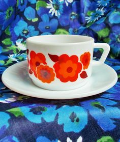 Retro Demi Tasse Cup and Saucer - Lotus  by Arcopal in France - 1970's - Flame red, orange & dark brick red - used by GertieGussetsVintage on Etsy