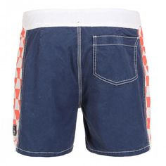 BOARDSHORTS WITH CHECK PRINT DETAILS Boardshorts with side check printed details, fixed waist with snaps and Velcro fly, a Velcro back pocket. COMPOSITION: 100% COTTON. Our model wears size 32, he is 189 cm tall and weighs 86 Kg.