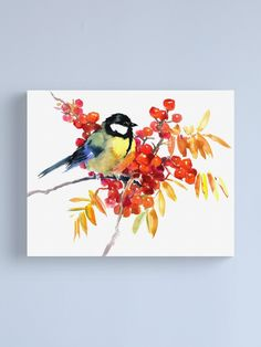 """""""Great Tit Bird and Berries"""" Canvas Print by surenart 
