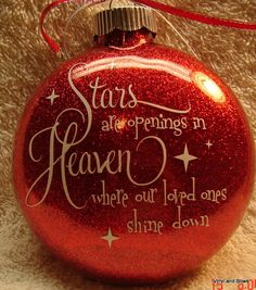 This glitter ornament is done on a 4 glass disc ornament with white vinyl lettering and coordinating ribbon to match. If you would like the year or date on the back, please request at no extra charge. Comes with its own box for giving or storage. Vinyl Ornaments, Glitter Ornaments, Diy Christmas Ornaments, Homemade Christmas, Christmas Projects, Holiday Crafts, Christmas Holidays, Christmas Decorations, Christmas Ideas