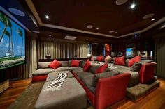 Entertainment room. Love the way the couches are set up!