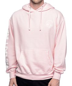 Pink is the new pink! Grab the We Outer Here light pink hoodie and stay on trend with this rad colorway and an embroidered alien head graphic on the left chest. The soft fleece lining gives you all the comfort you need while offering some sick style that