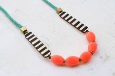 Black and White Stripe Rope Necklace