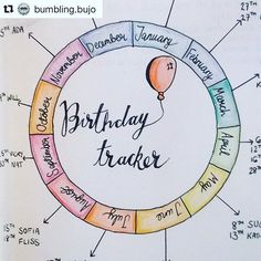 Love this #calendarwheel inspired #birthday #tracker from @bumbling.bujo #Repost @bumbling.bujo (via @repostapp) ・・・ My finished birthday tracker! It turned out super cute . . . . (I've cropped out the actual birthdays to protect everyone's privacy!) . .