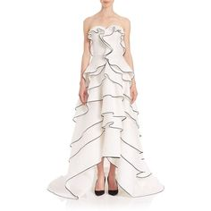 Oscar de la Renta Strapless Tiered Ruffle Gown ($5,990) ❤ liked on Polyvore featuring dresses, gowns, apparel & accessories, white, white dress, floral gown, floral ball gown, floral evening gown and white strapless gown