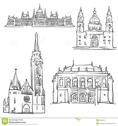 Budapest Hungary Famous Buildings Stock Vector - Image: 92236515