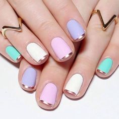 to these pastel nails with rose gold French tips. One of my all time favourites and a quick and simple go-to nail art design 💅🏼💕 Bright Summer Acrylic Nails, Pastel Nails, Cute Acrylic Nails, Cute Nails, Nagellack Design, Nagellack Trends, Chrome Nails Designs, Nail Art Designs, Trendy Nail Art