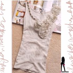 """Flowered Lt. Grey Ribbed Cotton Tank 2 New with tag darling light grey ribbed tank detailed with pearls and rosettes.  Fits size 2 mannequin. High quality cotton tank measures 14"""" from underarm to underarm but easily stretches at least 3 inches (6"""" around). Tops Tank Tops"""