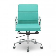 Eames Turquoise Short Back Soft Pad Style Executive Office Chair
