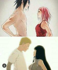 Sasuke with Sakura and Naruto with Hinata