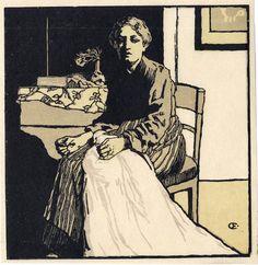 Emil Orlk    Näherin - Seamstress Color Woodcut Print 1896, 16.1 x 15.6