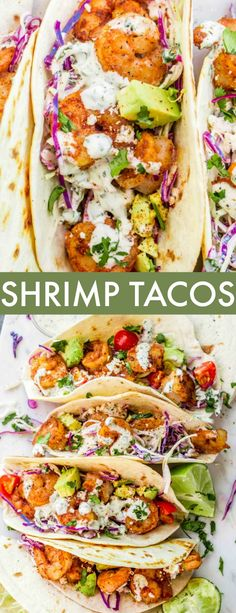 This homemade Shrimp Taco Recipe with Slaw and a creamy Cilantro Lime Sauce is a KEEPER. The juicy shrimp are stacked on a bed of the crunchy slaw and topped with avocado, tomatoes and the sauce. and Drink dinner seafood Shrimp Taco Recipe Shrimp Taco Sauce, Best Shrimp Taco Recipe, Spicy Shrimp Tacos, Shrimp Taco Recipes, Slaw Recipes, Fish Recipes, Mexican Food Recipes, Healthy Recipes, Dinner Recipes With Avocado