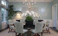 Adam Hunter + Dining Room + Venetian Plaster Wallpaper + Seafoam Green + Kneedler Faucher