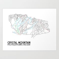 Crystal Mountain, WA - Minimalist Trail Maps Art Print by CircleSquareDiamond - $16.00