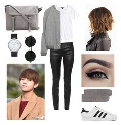 """""""Ideal type of V"""" by bts-outfit-imagines ❤ liked on Polyvore featuring adidas, Balenciaga, Topshop, Christopher Fischer and Elwood"""