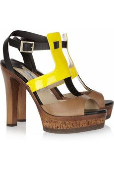 Samos patent-detailed leather sandals by Jimmy Choo