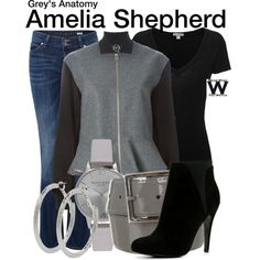 Amelia Shepherd // Private Practice // by wearwhatyouwatch on Polyvore featuring James Perse, McQ by Alexander McQueen, Lee, ALDO, Olivia Burton, M&Co, STELLA McCARTNEY, television and wearwhatyouwatch