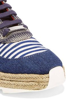 Stella McCartney - Macy Denim, Striped Canvas And Jute Sneakers - Navy - IT40