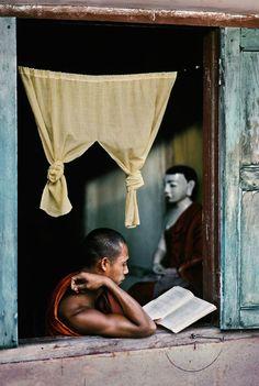 steve mccurry/magnum photos, monk reads buddhist scripture at monastery, yangon (rangoon), burma, 1995