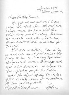 Letter from Johnny Cash to June Cash on her birthday-1994, after 26 years of marriage <3