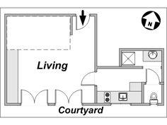 Paris Studio T1 logement location appartement - plan schématique  (PA-3327)